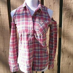 Cold shoulder plaid flannel shirt